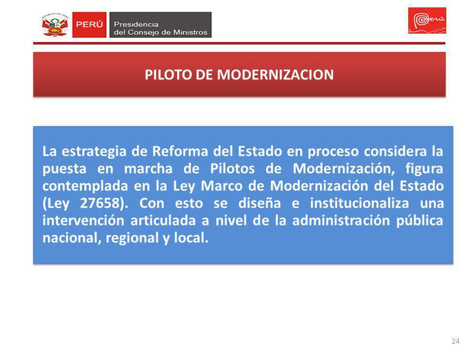 PILOTO DE MODERNIZACION 24 La estrategia de Reforma del Estado en proceso considera la puesta en marcha de Pilotos de Modernización, figura contemplad