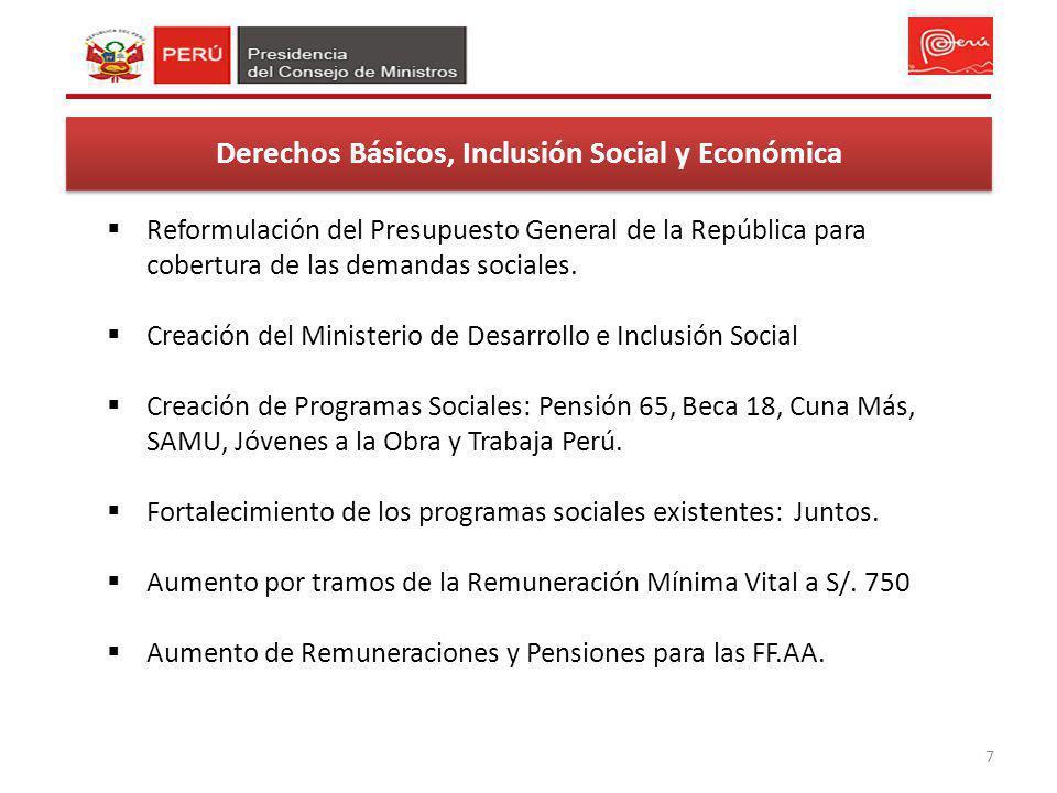 7 Derechos Básicos, Inclusión Social y Económica Reformulación del Presupuesto General de la República para cobertura de las demandas sociales. Creaci