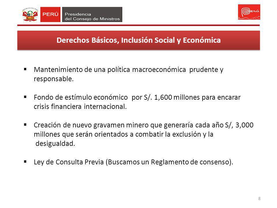 8 Derechos Básicos, Inclusión Social y Económica Mantenimiento de una política macroeconómica prudente y responsable. Fondo de estímulo económico por