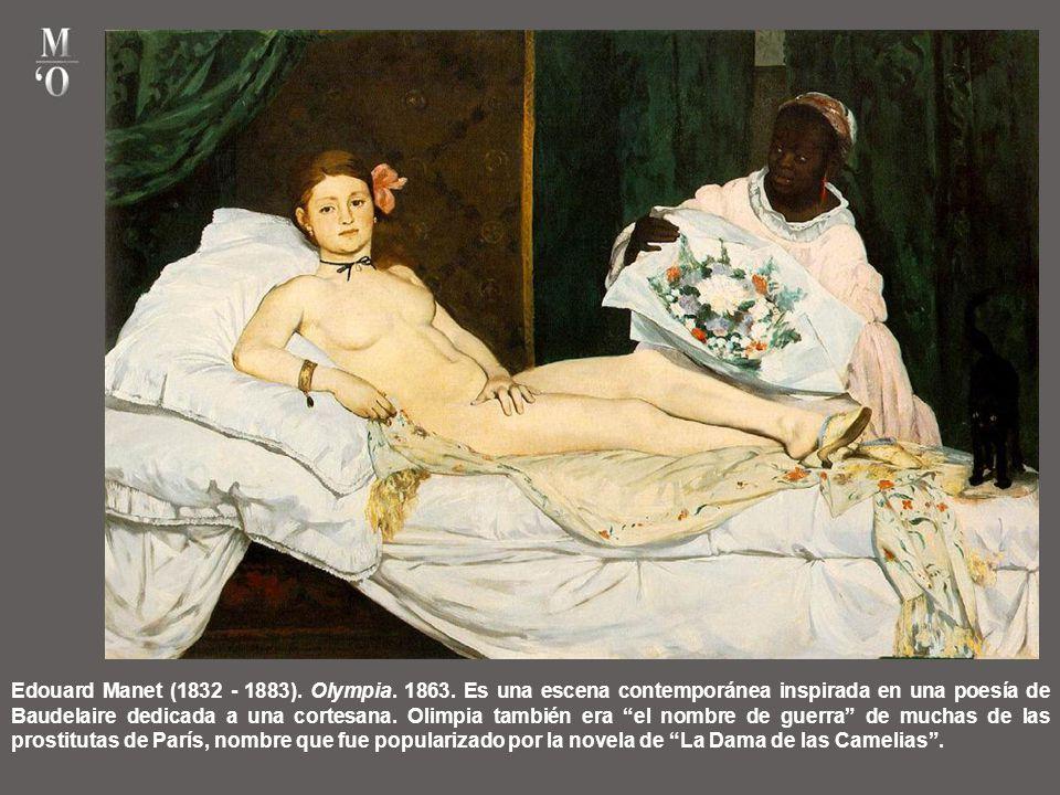 Edouard Manet (1832 - 1883). Desayuno en la hierba. 1863. El público se escandalizó por esta mujer desnuda. Por aquella época el desnudo aparecía en l