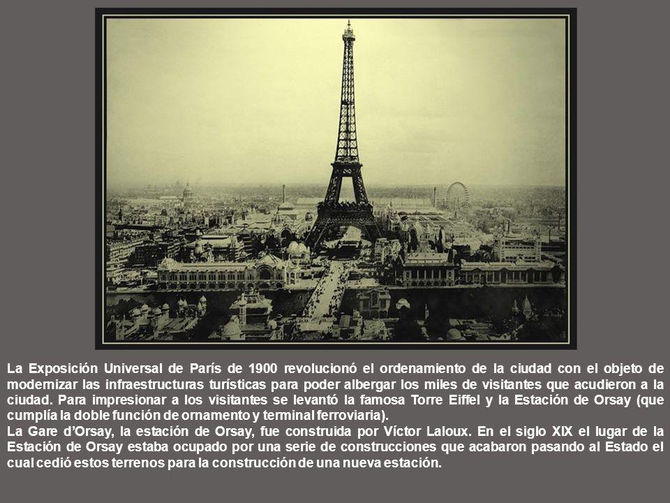 La Exposición Universal de París de 1900 revolucionó el ordenamiento de la ciudad con el objeto de modernizar las infraestructuras turísticas para poder albergar los miles de visitantes que acudieron a la ciudad.
