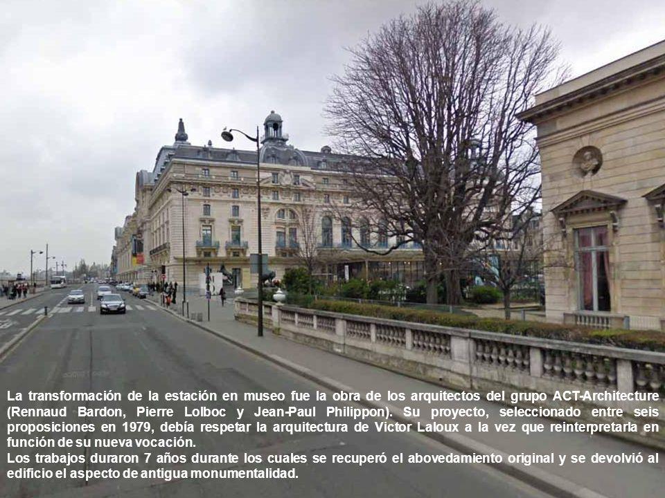La transformación de la estación en museo fue la obra de los arquitectos del grupo ACT-Architecture (Rennaud Bardon, Pierre Lolboc y Jean-Paul Philippon).