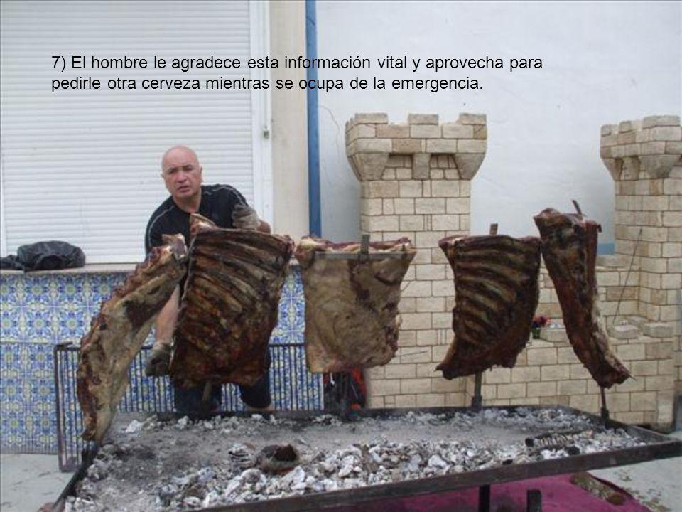 6) La mujer informa al hombre que la carne se está quemando.