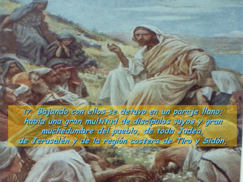 17 Bajando con ellos se detuvo en un paraje llano; había una gran multitud de discípulos suyos y gran muchedumbre del pueblo, de toda Judea, de Jerusalén y de la región costera de Tiro y Sidón,