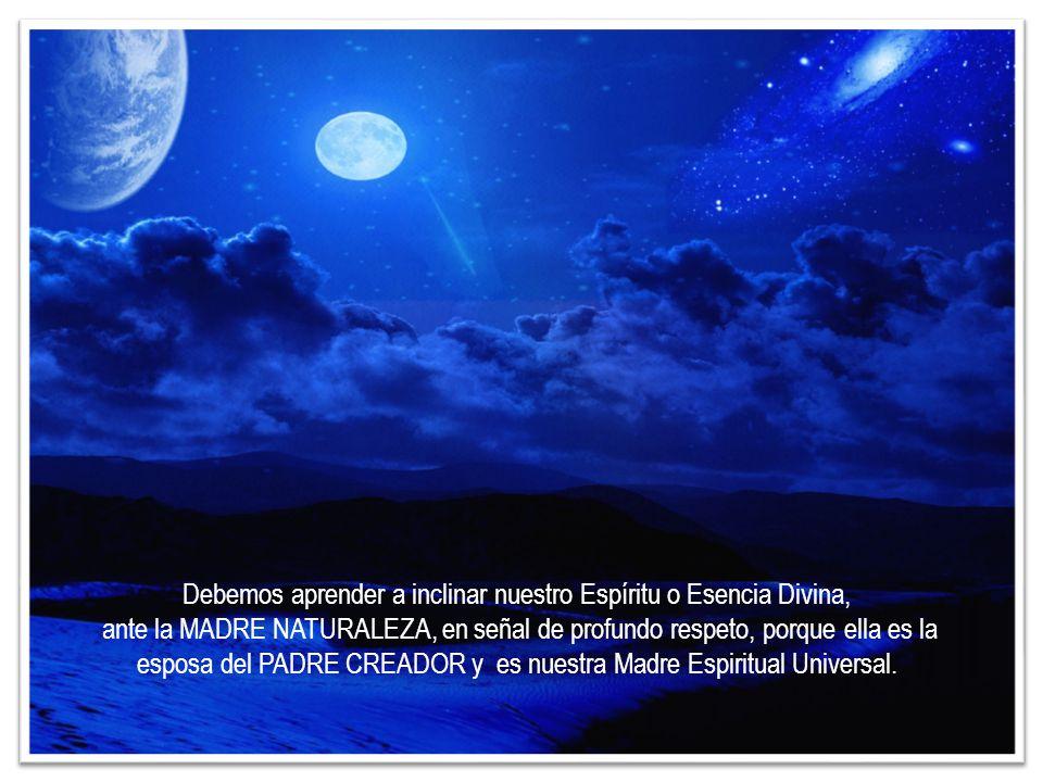 Debemos aprender a inclinar nuestro Espíritu o Esencia Divina, ante la MADRE NATURALEZA, en señal de profundo respeto, porque ella es la esposa del PADRE CREADOR y es nuestra Madre Espiritual Universal.