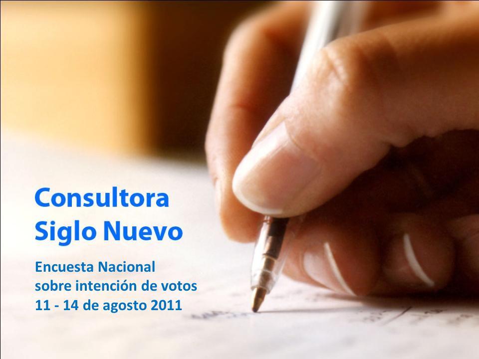 Encuesta Nacional sobre intención de votos 11 - 14 de agosto 2011