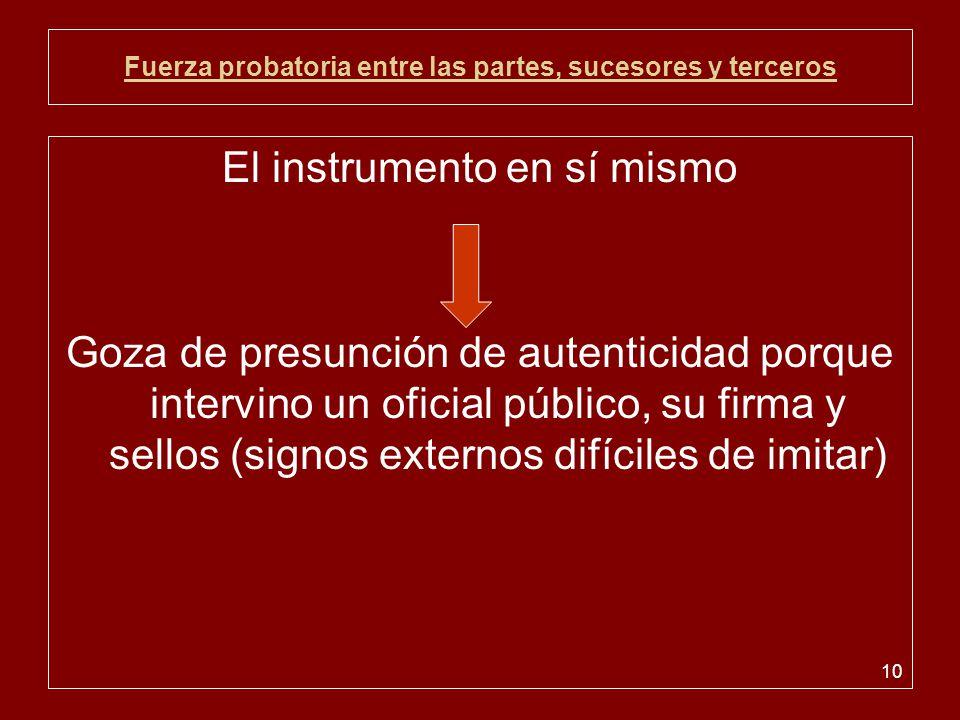 10 Fuerza probatoria entre las partes, sucesores y terceros El instrumento en sí mismo Goza de presunción de autenticidad porque intervino un oficial