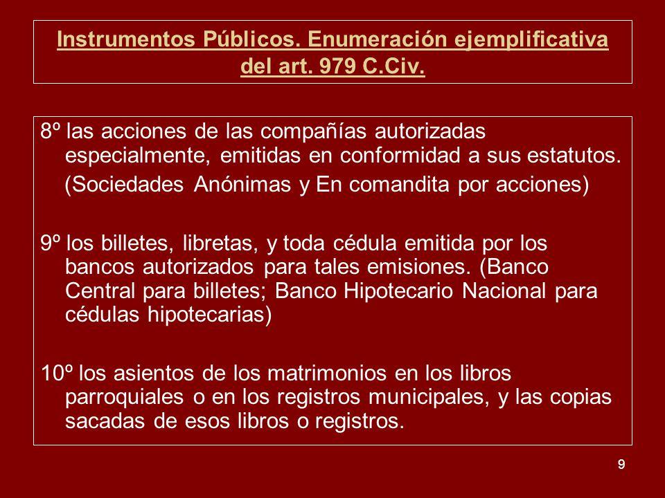 9 Instrumentos Públicos. Enumeración ejemplificativa del art. 979 C.Civ. 8º las acciones de las compañías autorizadas especialmente, emitidas en confo
