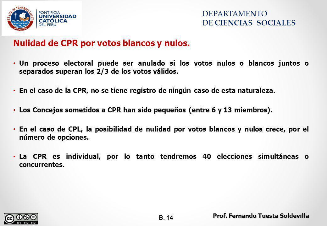 B. 14 DEPARTAMENTO DE CIENCIAS SOCIALES Nulidad de CPR por votos blancos y nulos. Un proceso electoral puede ser anulado si los votos nulos o blancos