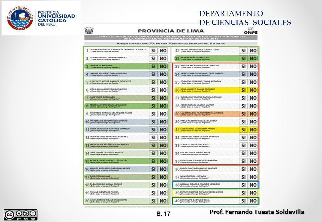 B. 17 DEPARTAMENTO DE CIENCIAS SOCIALES Prof. Fernando Tuesta Soldevilla