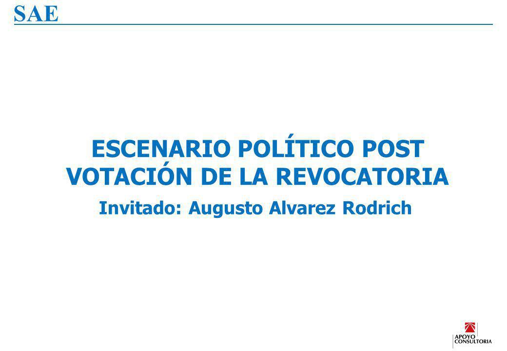 B. 18 ESCENARIO POLÍTICO POST VOTACIÓN DE LA REVOCATORIA – AUGUSTO ALVAREZ RODRICH SAE ESCENARIO POLÍTICO POST VOTACIÓN DE LA REVOCATORIA Invitado: Au