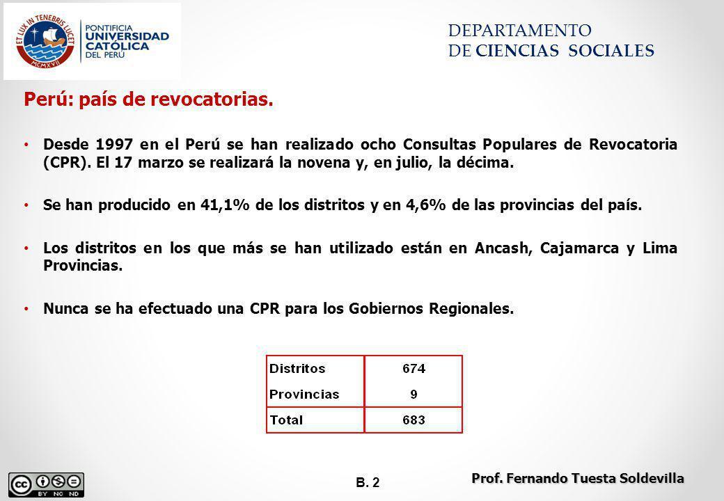 B. 2 DEPARTAMENTO DE CIENCIAS SOCIALES Prof. Fernando Tuesta Soldevilla Perú: país de revocatorias. Desde 1997 en el Perú se han realizado ocho Consul