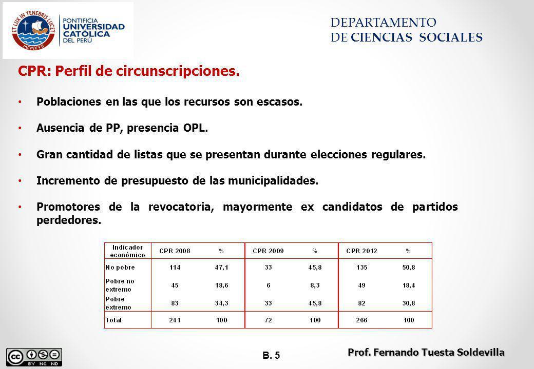 B. 5 DEPARTAMENTO DE CIENCIAS SOCIALES CPR: Perfil de circunscripciones. Poblaciones en las que los recursos son escasos. Ausencia de PP, presencia OP