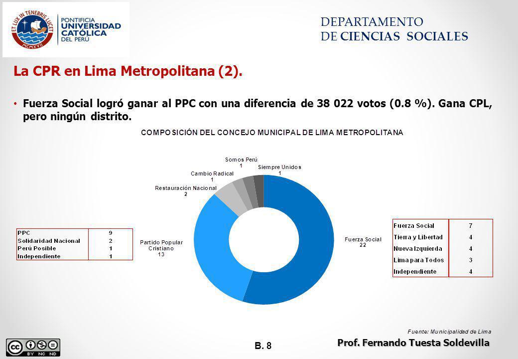 B. 8 DEPARTAMENTO DE CIENCIAS SOCIALES La CPR en Lima Metropolitana (2). Fuerza Social logró ganar al PPC con una diferencia de 38 022 votos (0.8 %).