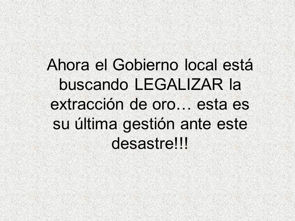 Ahora el Gobierno local está buscando LEGALIZAR la extracción de oro… esta es su última gestión ante este desastre!!!