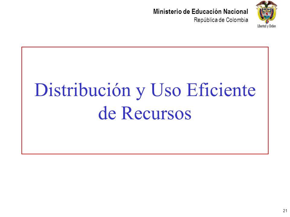 21 Ministerio de Educación Nacional República de Colombia Distribución y Uso Eficiente de Recursos