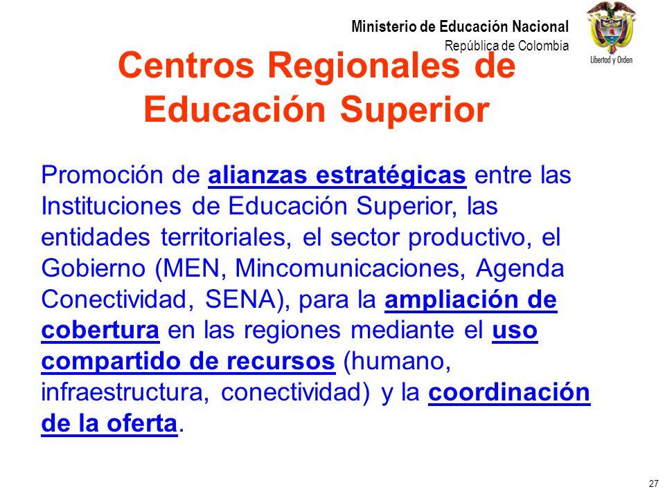 27 Ministerio de Educación Nacional República de Colombia Promoción de alianzas estratégicas entre las Instituciones de Educación Superior, las entida