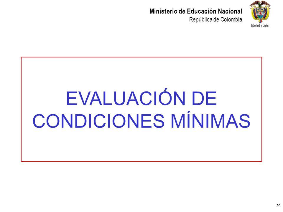 29 Ministerio de Educación Nacional República de Colombia EVALUACIÓN DE CONDICIONES MÍNIMAS