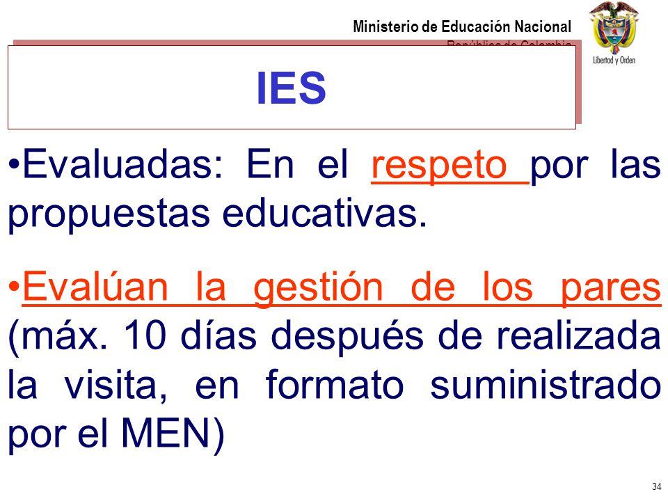 34 Ministerio de Educación Nacional República de Colombia IES Evaluadas: En el respeto por las propuestas educativas. Evalúan la gestión de los pares