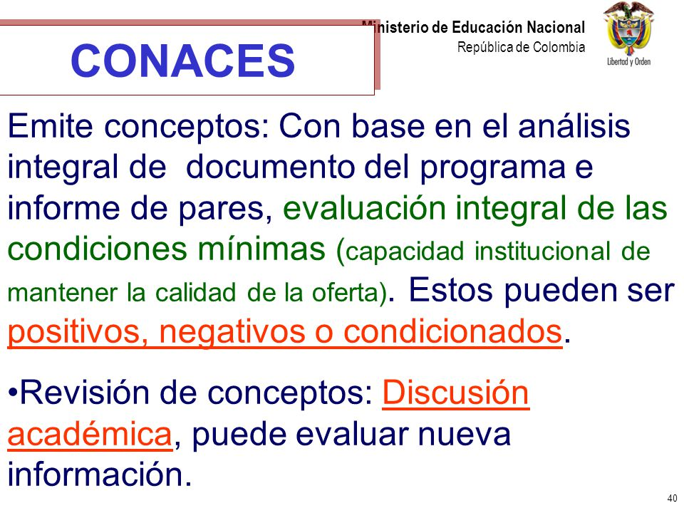 40 Ministerio de Educación Nacional República de Colombia CONACES Emite conceptos: Con base en el análisis integral de documento del programa e inform