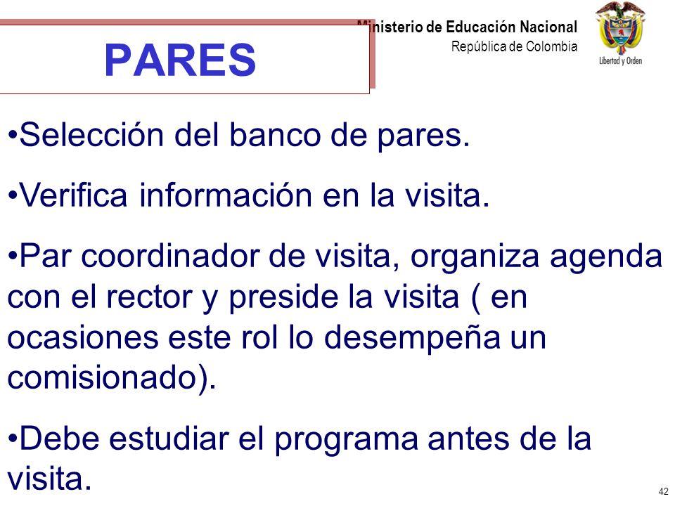 42 Ministerio de Educación Nacional República de Colombia PARES Selección del banco de pares. Verifica información en la visita. Par coordinador de vi