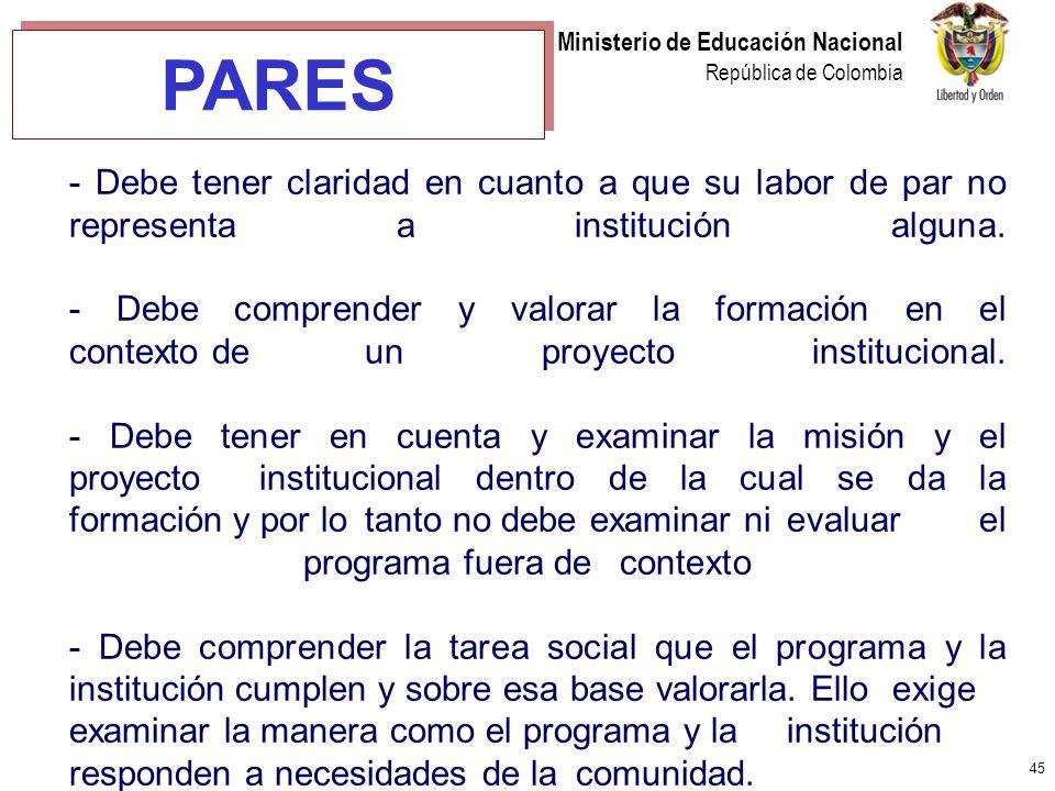 45 Ministerio de Educación Nacional República de Colombia - Debe tener claridad en cuanto a que su labor de par no representa a institución alguna. -