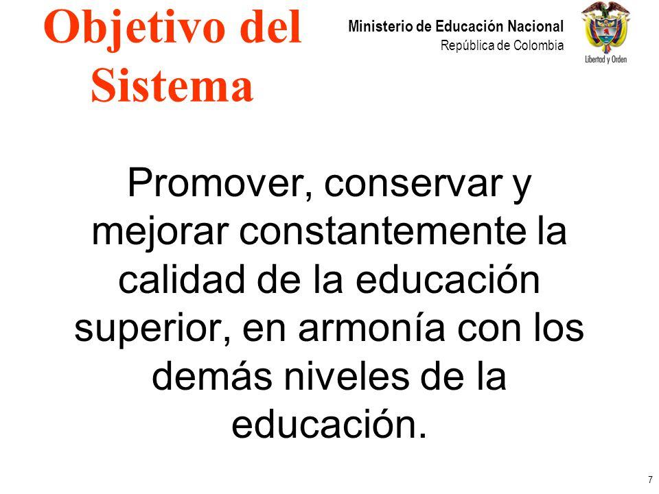 7 Ministerio de Educación Nacional República de Colombia Promover, conservar y mejorar constantemente la calidad de la educación superior, en armonía
