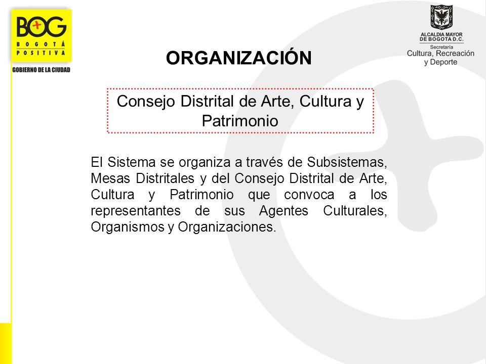 ORGANIZACIÓN Consejo Distrital de Arte, Cultura y Patrimonio El Sistema se organiza a través de Subsistemas, Mesas Distritales y del Consejo Distrital