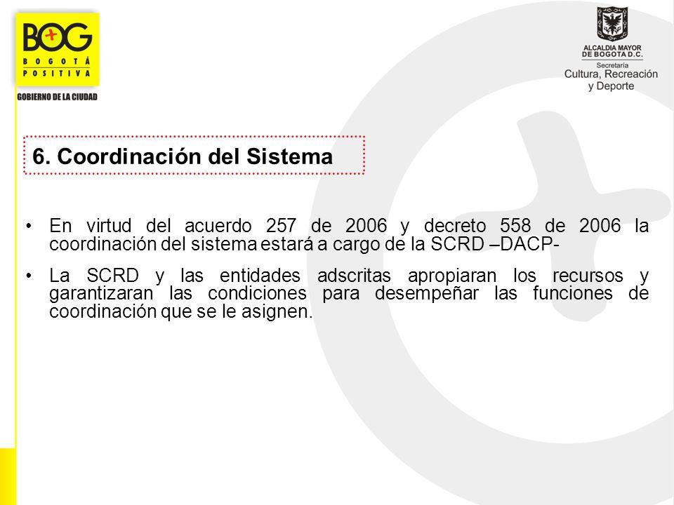 6. Coordinación del Sistema En virtud del acuerdo 257 de 2006 y decreto 558 de 2006 la coordinación del sistema estará a cargo de la SCRD –DACP- La SC
