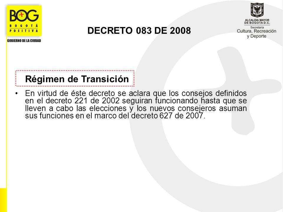 Régimen de Transición En virtud de éste decreto se aclara que los consejos definidos en el decreto 221 de 2002 seguiran funcionando hasta que se lleve
