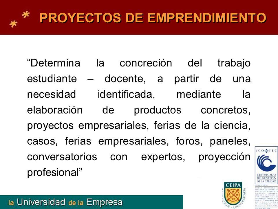 PROYECTOS DE EMPRENDIMIENTO Determina la concreción del trabajo estudiante – docente, a partir de una necesidad identificada, mediante la elaboración