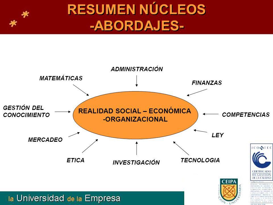 RESUMEN NÚCLEOS -ABORDAJES- REALIDAD SOCIAL – ECONÓMICA -ORGANIZACIONAL FINANZAS GESTIÓN DEL CONOCIMIENTO MERCADEO ETICA INVESTIGACIÓN TECNOLOGIA COMP