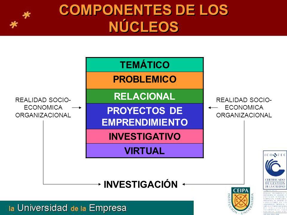 COMPONENTES DE LOS NÚCLEOS TEMÁTICO PROBLEMICO RELACIONAL PROYECTOS DE EMPRENDIMIENTO INVESTIGATIVO VIRTUAL INVESTIGACIÓN REALIDAD SOCIO- ECONOMICA OR