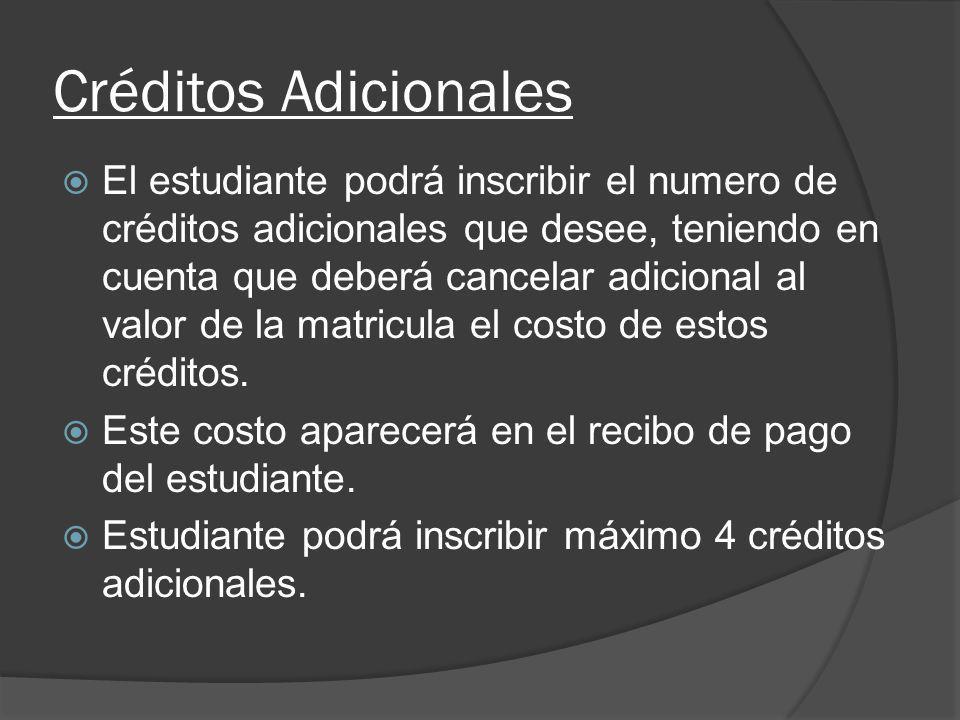 Créditos Adicionales El estudiante podrá inscribir el numero de créditos adicionales que desee, teniendo en cuenta que deberá cancelar adicional al va