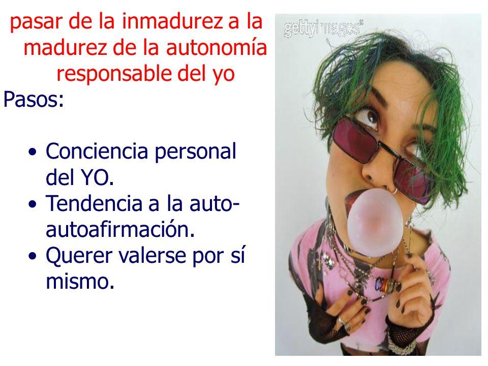 pasar de la inmadurez a la madurez de la autonomía responsable del yo Pasos: Conciencia personal del YO.