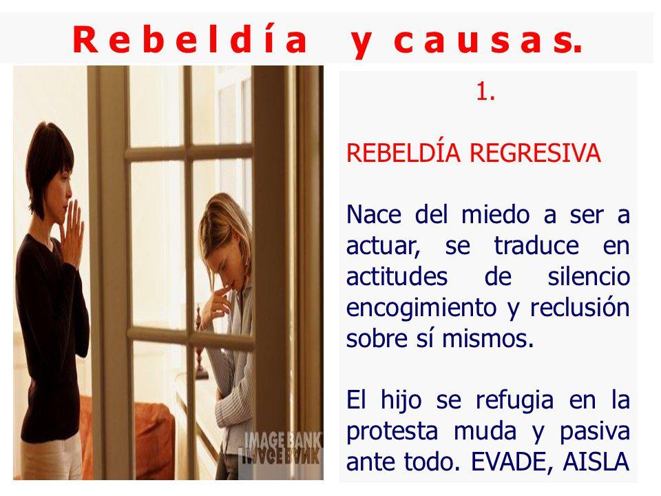 R e b e l d í a y c a u s a s. 1. REBELDÍA REGRESIVA Nace del miedo a ser a actuar, se traduce en actitudes de silencio encogimiento y reclusión sobre