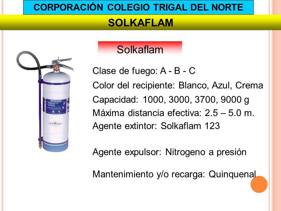 SOLKAFLAM Capacidad: 1000, 3000, 3700, 9000 g Agente extintor: Solkaflam 123 Agente expulsor: Nitrogeno a presión Mantenimiento y/o recarga: Quinquena