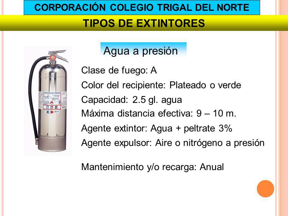 TIPOS DE EXTINTORES Agua a presión Capacidad: 2.5 gl. agua Agente extintor: Agua + peltrate 3% Agente expulsor: Aire o nitrógeno a presión Mantenimien