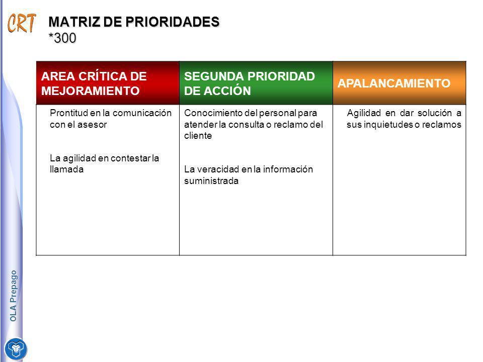 MATRIZ DE PRIORIDADES *300 AREA CRÍTICA DE MEJORAMIENTO SEGUNDA PRIORIDAD DE ACCIÓN APALANCAMIENTO Prontitud en la comunicación con el asesor La agili