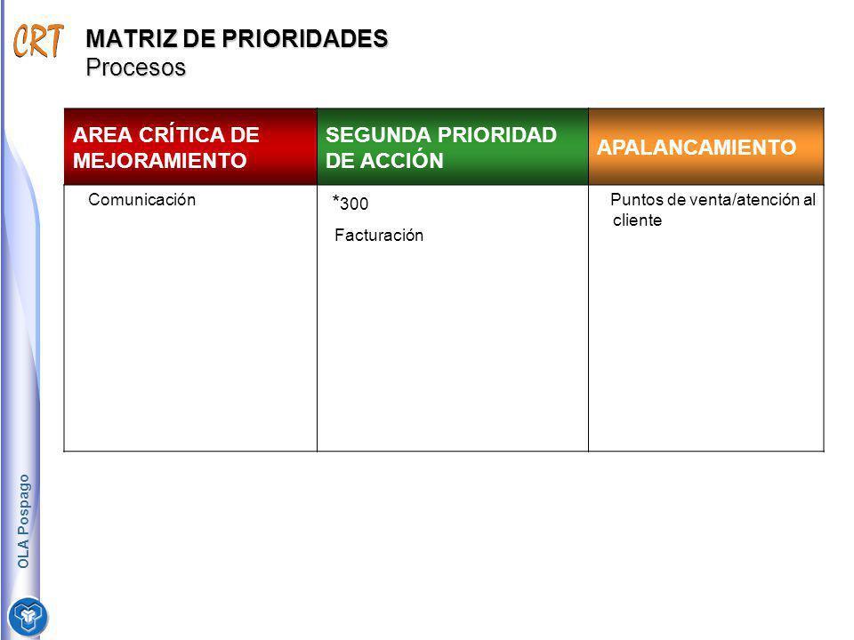MATRIZ DE PRIORIDADES Procesos AREA CRÍTICA DE MEJORAMIENTO SEGUNDA PRIORIDAD DE ACCIÓN APALANCAMIENTO Comunicación * 300 Facturación Puntos de venta/