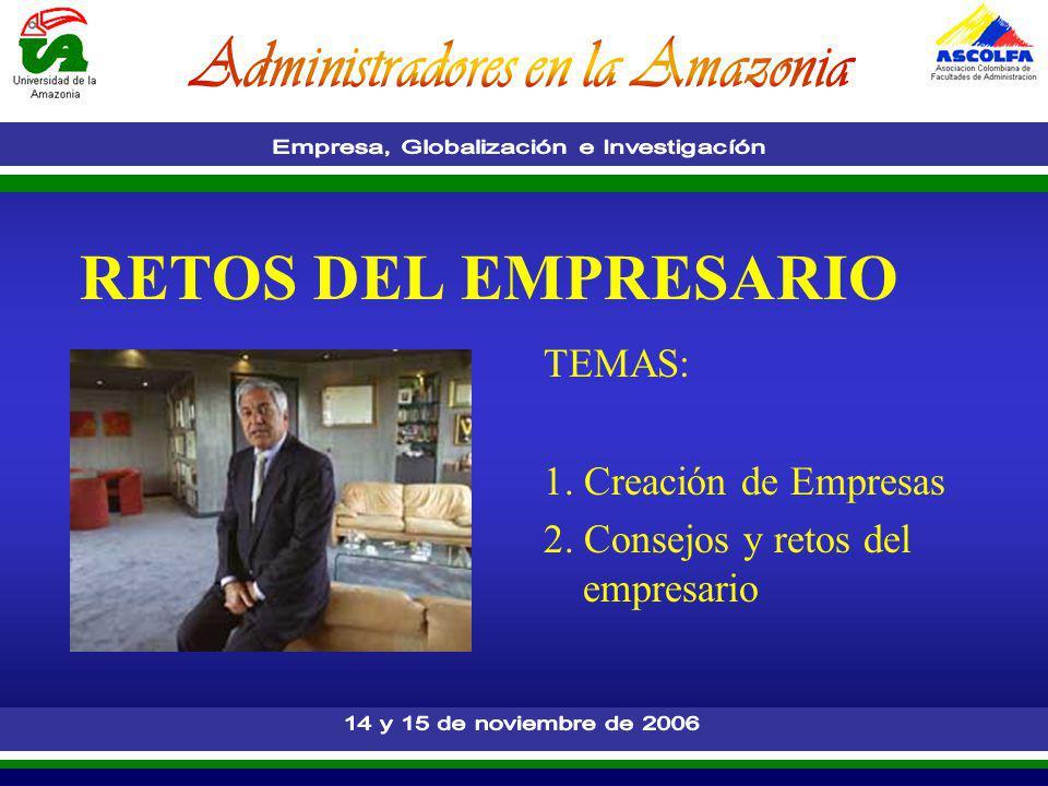 RETOS DEL EMPRESARIO TEMAS: 1. Creación de Empresas 2. Consejos y retos del empresario