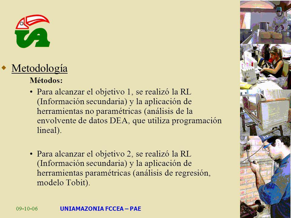 09-10-06UNIAMAZONIA FCCEA – PAE Metodología Métodos: Para alcanzar el objetivo 1, se realizó la RL (Información secundaria) y la aplicación de herrami