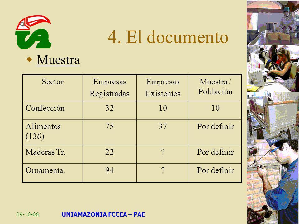 09-10-06UNIAMAZONIA FCCEA – PAE 4. El documento Muestra SectorEmpresas Registradas Empresas Existentes Muestra / Población Confección3210 Alimentos (1