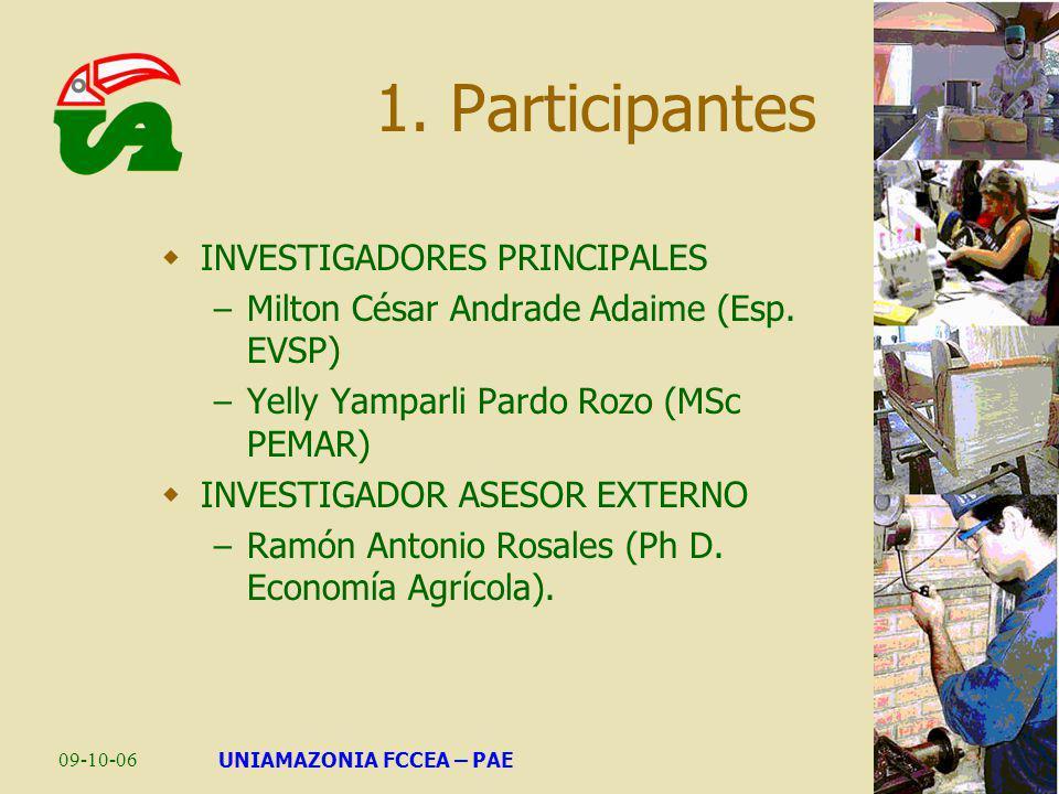 09-10-06UNIAMAZONIA FCCEA – PAE 1. Participantes INVESTIGADORES PRINCIPALES – Milton César Andrade Adaime (Esp. EVSP) – Yelly Yamparli Pardo Rozo (MSc