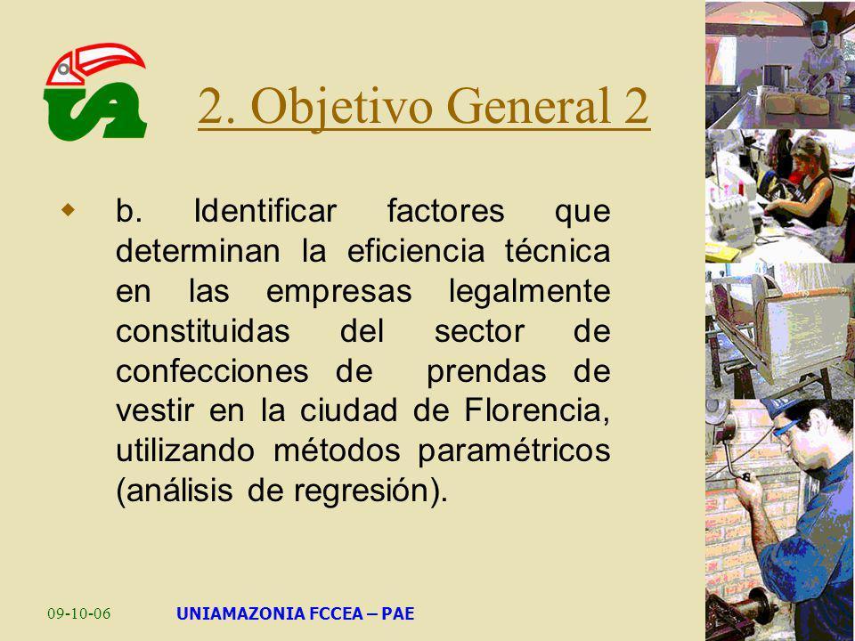 09-10-06UNIAMAZONIA FCCEA – PAE b. Identificar factores que determinan la eficiencia técnica en las empresas legalmente constituidas del sector de con