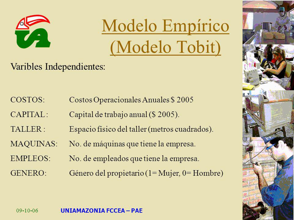 09-10-06UNIAMAZONIA FCCEA – PAE Modelo Empírico (Modelo Tobit) Varibles Independientes: COSTOS: Costos Operacionales Anuales $ 2005 CAPITAL : Capital
