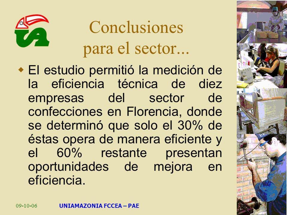 09-10-06UNIAMAZONIA FCCEA – PAE Conclusiones para el sector... El estudio permitió la medición de la eficiencia técnica de diez empresas del sector de