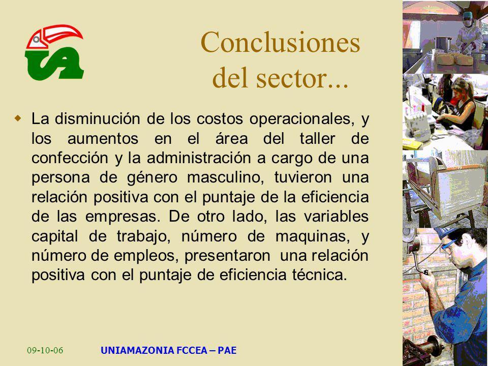 09-10-06UNIAMAZONIA FCCEA – PAE Conclusiones del sector... La disminución de los costos operacionales, y los aumentos en el área del taller de confecc