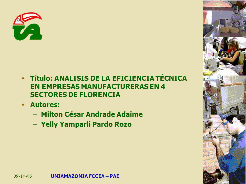09-10-06UNIAMAZONIA FCCEA – PAE Problema: – Las empresas manufactureras (industriales) en el Caquetá y en Florencia, tienen una escasa participación en la economía departamental (2.49% del PIB deptal a 2005).