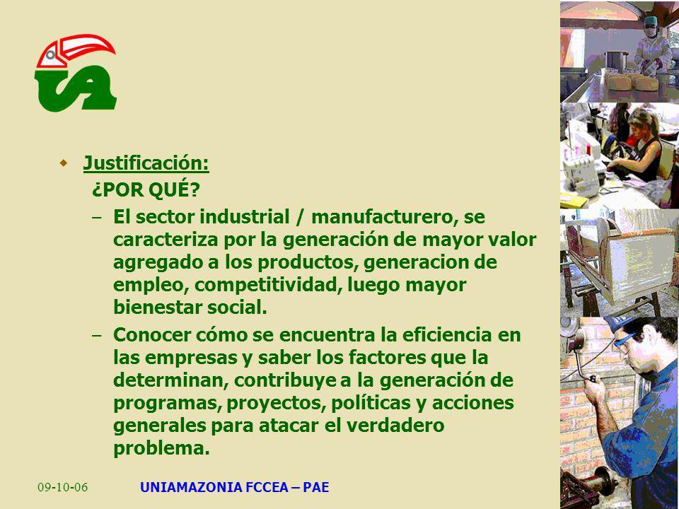 09-10-06UNIAMAZONIA FCCEA – PAE Justificación: ¿POR QUÉ? – El sector industrial / manufacturero, se caracteriza por la generación de mayor valor agreg